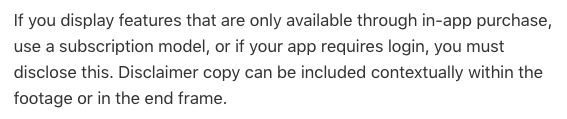 App Preview In App Purchase Disclaimer